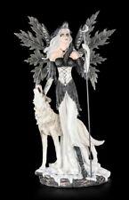 Elfen Figur mit Wolf - Wächter des Mondes groß - Fantasy Deko Statue