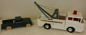 Marx Toys Super Highway Service Wrecker Toy Tow Truck & Wrecked Pick Up W/ Tools