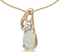 14k Yellow Gold Oval Opal and Diamond Pendant (no chain) (CM-P2590X-10)