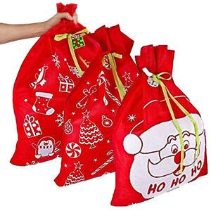 3pk Jumbo 44x36 Fabric Gift Bags Christmas Holiday Reusable Ribbon Drawstring