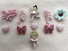 DRESS IT UP BUTTONS ~ ON POINTE ~ BALLERINA ~ BALLET SHOES ~ BOWS ~ HEART~ GIRL