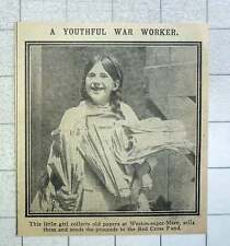 1915 Little Girl Weston-super-mare Collecting Old Papers For The Red Cross Fund