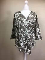 Ladies Orvis Blouse Top oatmeal beige White floral flowers wrap UK 14 (BT)