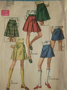Amazing VTG 69 SIMPLICITY 8397 Misses Set of Skirts & Scooter Skirt PATTERN 23W
