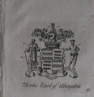 1756 Antiguo Estampado Familia Crest Abrigo De Brazos Bertie Conde De