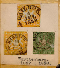 1857-1858 Germany Wurttemberg Good lot Of 3 classical stamps VF Nice cancels