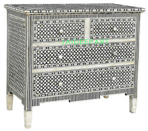 Handmade Bone Inlay Moroccan Black Sideboard Dresser 4 Drawer