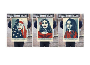 Shepard Fairey We The People Set (3) Obey Giant Offset Lithograph 24 X 36 Print