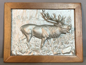 1910 Antique ARTS & CRAFTS Old RELIEF CAST Mountain STAG ELK Statue WALL PLAQUE
