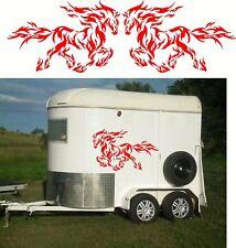Flame Horses, Float, Trailer, Caravan, Truck Mirrored Sticker Decal Set
