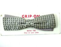 Royal Vintage Clip On Bow Tie 1950s Silver Woven Check Straight Bowtie