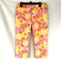 Izod Floral Cropped Capris Pants Petite Stretch Pink Yellow Size 12P