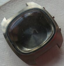 Chronograph mens wristwatch steel case with pushers screw cap 37 mm aside N.O.S.