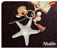 Precioso Llavero Estrella Mar Borla Perla Mujer Mundo Fantasía Bolsos y Mochilas