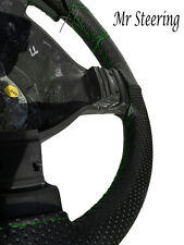 BLACK PERFORATED LEATHER STEERING WHEEL COVER GREEN STITCH FOR VAUXHALL CORSA D