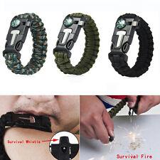 Survival Tactical Bracelet Outdoor Field Paracord Scraper Whistle Flint Fire kit