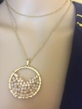LADIES NECKLACE GOLD-TONE WITH PENDANT OF LT. PINK AURORA BOREALIS BEADS