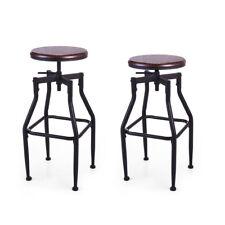 Set of 2 Swivel Bar Stool Adjustable Wood Metal Design Bistro Chair Industrial