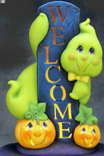 """Ceramic Bisque Ready to Paint  """"Welcome Ghost"""" with Light Kit 15.5"""" tall"""
