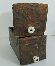 2 Wood Drawers Rustic Decor Country Primitive Metal Rust Decorative Collectible