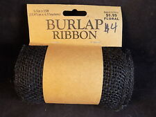 "BURLAP RIBBON BLACK 5.5"" in x 15' ft New Hobby Lobby roll craft project ribbon"
