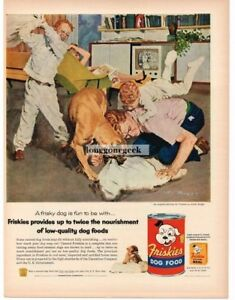 1956 Friskies Dog Food Family Pillow Fight art by Austin Briggs Vintage Print Ad