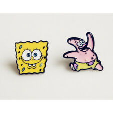 "Spongebob & Patrick Enamel Stud Earings 1/2"" Retro Nickelodeon Cartoon Kids  NEW"