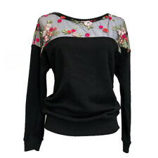 BEBE Floral Sexy Mesh Embroidered Black Pull Over Sweater | Size Extra Small