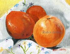 Still Life Oranges Art, PRINT of original oil painting vintage cloth  RZZART