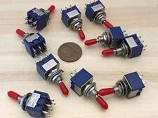 10 x Sleeve RED latching 6 Pin ON/ON Toggle Switch 6A 125VAC useless box DPDT A
