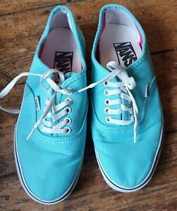 Vans light blue/white trim canvas trainers, S.5(38). Lace up. Great condition!