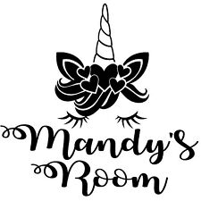 Unicorn Bedroom Door/Wall Decal - You can have any name you want            D4