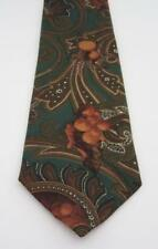 Burberry 100% Silk Necktie, Made in England, Teal Green with Brown Print