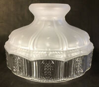 "10"" Glass Oil Kerosene Lamp Shade Satin Crystal Top & Clear Panels fits Aladdin"