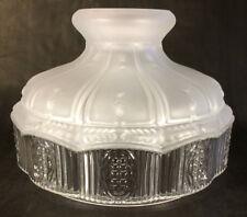 "10"" Glass Oil Kerosene Lamp Shade Satin Crystal Top & Clear Panels fits Aladdin"