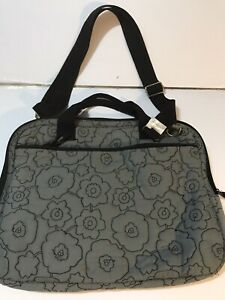 Thirty One 31 Gray Quilted Poppy Floral LAP TOP  Computer Bag