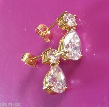 SPD Sim diamond pear drop & stud earrings 18k gold filled BOXED Plum UK S16A