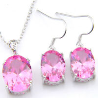 Lovely Sweet Pink Topaz Gemstone Silver Necklace Pendant Earrings Set + Chain