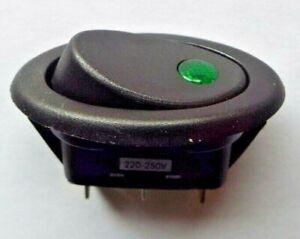 GREEN DOT 240v 10A Illuminated Oval Rocker Switch 35 x 18mm cut out