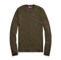 $495 Ralph Lauren Purple Label RLX Slim Ribbed Merino Wool Green Crew Sweater