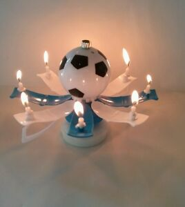 """Magical Birthday Candles Soccer Ball """"Trophy Style"""" Blue & White Cake Topper"""