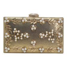 490186ded34b Women Vintage Flower Pearl Satin Clutch Bag Diamante Closure Party Wedding  Purse