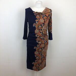 Beautiful Phase Eight Ruched Flattering Paisley Print Jersey Bodycon Dress Uk12