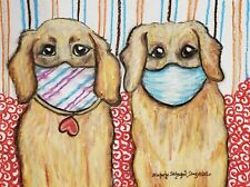 Golden Retriever in Quarantine Art Print 4x6 Dog Collectible Signed Artist Ksams