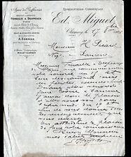 """CLAMECY (58) DEPOT / RAFFINERIE de SUCRE """"A. SOMMIER / E. MIGUET"""" 1906"""