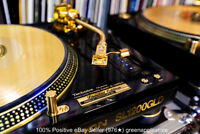 TECHNICS SL-1200GLD GOLD LIMITED EDITION TURNTABLES w/NEW ODYSSEY FLIGHT CASES!