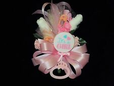 Baby Shower Corsage Pink With  Its A Girl Rattle  Handmade