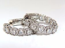 1.60ct natural round brilliant in/out diamond hoop earrings 14kt rope twist