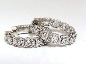 1.60ct natural round brilliant in/out diamond hoop earrings 14kt rope twist+