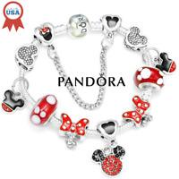 Authentic Pandora Bracelet Silver Disney Minnie Mickey with European Charms Red